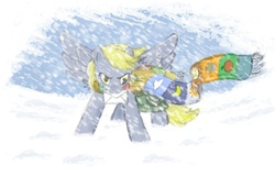 Size: 900x577 | Tagged: safe, artist:onkelscrut, derpy hooves, pegasus, pony, blizzard, clothes, epic derpy, female, letter, mail, mailbag, mailpony, mare, mouth hold, scarf, snow, snowfall, solo