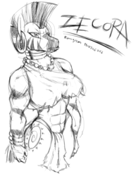 Size: 1099x1405 | Tagged: safe, artist:konnykon, zecora, anthro, zebra, female, grayscale, monochrome, muscles, simple background, solo, white background