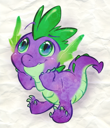 Size: 538x625   Tagged: safe, artist:squeek-a-chu, spike, dragon, looking up, male, smiling, solo