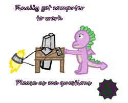Size: 471x378 | Tagged: safe, artist:tokoshoran, spike, dragon, askspikeddragon, computer, male, older, solo, winged spike, wings
