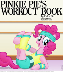 Size: 704x806 | Tagged: safe, artist:kturtle, pinkie pie, earth pony, pony, 80s, book cover, cover, exercise, female, headband, leg warmers, mare, on back, smiling, workout outfit, wristband