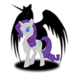 Size: 1440x1440 | Tagged: safe, artist:virenth, nightmare moon, nightmare rarity, rarity, pony, unicorn, female, grin, hilarious in hindsight, mare, possessed, raised hoof, slit eyes, smiling