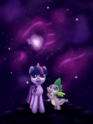 Size: 1050x1400 | Tagged: safe, artist:meroni, spike, twilight sparkle, dragon, pony, unicorn, duo, female, male, mare, night, smiling, stars