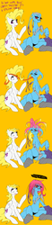 Size: 924x3999 | Tagged: safe, artist:slugbox, surprise, oc, oc:cteno, pegasus, pony, ask surprise, comic, dialogue, duo, female, g1, g1 to g4, generation leap, glasses, hair growth, haircut, long tongue, mare, raised hoof, simple background, sitting, tongue out, unamused