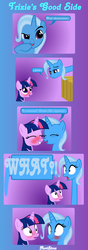 Size: 1374x3918 | Tagged: safe, artist:navitaserussirus, trixie, twilight sparkle, pony, unicorn, blushing, comic, female, lesbian, mare, scrunchy face, shipping, song, twixie