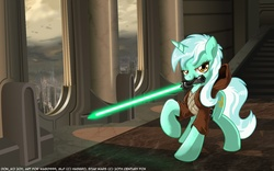 Size: 1680x1050 | Tagged: safe, artist:don-ko, lyra heartstrings, pony, unicorn, clothes, cosplay, crossover, female, jedi, lightsaber, mare, mouth hold, raised hoof, robe, solo, star wars, window