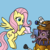 Size: 1000x1000   Tagged: safe, artist:madmax, fluttershy, pegasus, pony, artifact, blue background, colored, crossover, cute, dalek, dawwww, doctor who, duo, female, flying, food, kaled mutant, kettle, mare, shyabetes, simple background, tea