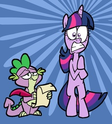 Size: 600x661 | Tagged: safe, artist:shuffle001, spike, twilight sparkle, dragon, pony, unicorn, abstract background, bipedal, female, male, mare, quill, scroll, shocked, shrunken pupils