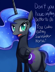 Size: 695x900 | Tagged: safe, artist:negativefox, nightmare moon, alicorn, pony, angry, female, glare, gradient background, looking at you, looking back, mare, nightmare moonbutt, open mouth, plot, solo, tsundere moon