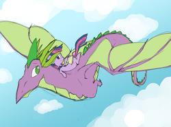 Size: 2000x1480 | Tagged: safe, artist:nowler, spike, twilight sparkle, dragon, pony, unicorn, adult spike, book, cloud, duo, female, flying, male, mare, older, older spike, on back, ponies riding dragons, riding, sky, smiling, wings
