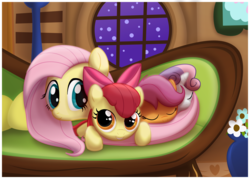 Size: 1161x830 | Tagged: safe, artist:ctb-36, apple bloom, fluttershy, scootaloo, sweetie belle, earth pony, pegasus, pony, unicorn, couch, cute, cutie mark crusaders, eyes closed, female, filly, grin, mare, night, prone, sleeping, smiling, snuggling, window