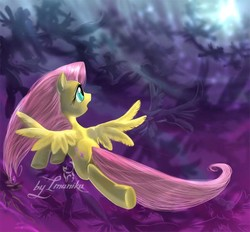 Size: 800x743 | Tagged: safe, artist:imanika, fluttershy, pegasus, pony, hurricane fluttershy, 2012, brave, female, flying, hurricane, mare, open mouth, semi-realistic, solo focus, storm, story included, windswept mane, worried