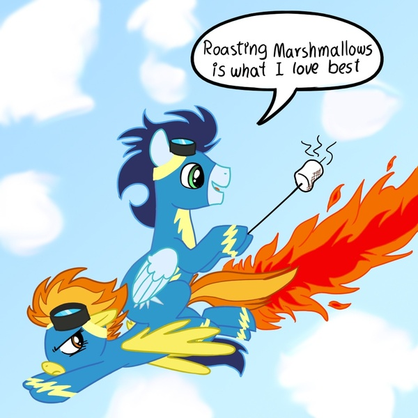 Size: 1000x1000 | Tagged: annoyed, artist:madmax, clothes, cloud, dialogue, featured image, female, fire, flying, food, goggles, hoof hold, looking back, male, mare, marshmallow, open mouth, pegasus, ponies riding ponies, pony, safe, silly, silly pony, soarin', source needed, speech bubble, spitfiery, spitfire, spitfire is not amused, stallion, unamused, uniform, walking campfire, wonderbolts uniform