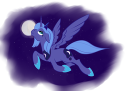 Size: 1445x1051 | Tagged: safe, artist:rubrony, princess luna, alicorn, pony, female, floppy ears, flying, lidded eyes, mare, moon, night, s1 luna, smiling, solo