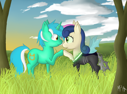 Size: 2448x1809 | Tagged: dead source, safe, artist:mostlyponyart, bon bon, lyra heartstrings, sweetie drops, changeling, pony, unicorn, bon bon is best changeling, eye contact, female, grass, lesbian, looking at each other, lyrabon, mare, shipping, smiling