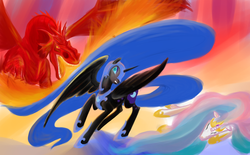 Size: 1340x832 | Tagged: safe, artist:rubrony, nightmare moon, princess celestia, alicorn, dragon, pony, armor, ethereal mane, female, fight, fire, fire breath, hoof shoes, mare, princess, protecting, side, sisters