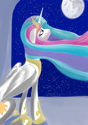 Size: 724x1024 | Tagged: safe, artist:rubrony, princess celestia, alicorn, pony, female, floppy ears, looking up, mare, mare in the moon, moon, night, peytral, princess, sad, sitting, solo, stars