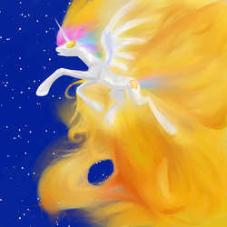 Size: 1125x1125 | Tagged: safe, artist:rubrony, princess celestia, alicorn, pony, birth, catasterism, female, fire, glowing eyes, mare, princess, solo, space, stars, sun