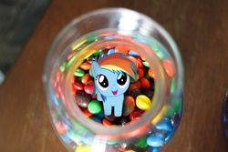 Size: 500x333 | Tagged: safe, artist:normanb88, edit, rainbow dash, pegasus, pony, cute, dashabetes, female, filly, filly rainbow dash, foal, jar, looking at you, looking up, m&m's, open mouth, photo, pony in a bottle, skittles, smiling, solo, trace, vector