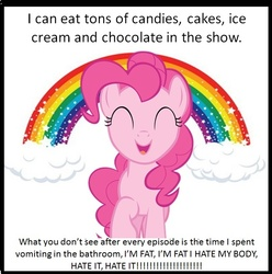 Size: 653x658 | Tagged: safe, pinkie pie, earth pony, pony, bulimia, eyes closed, female, mare, rainbow, solo, text