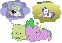 Size: 900x620 | Tagged: safe, artist:queencold, rarity, spike, oc, oc:jade, dragon, clothes, dragon oc, dragoness, dream, dress, female, male, simple background, sleeping, smiling, transparent background