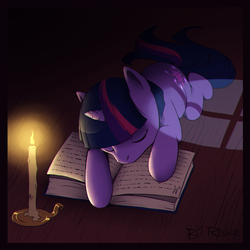 Size: 1060x1060 | Tagged: safe, artist:roslik, twilight sparkle, pony, unicorn, book, candle, female, get, index get, mare, prone, repdigit milestone, sleeping, solo
