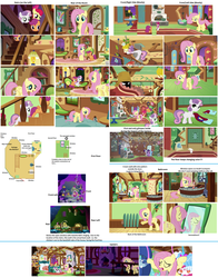 Size: 2600x3320   Tagged: safe, artist:aurebesh, screencap, apple bloom, fluttershy, philomena, scootaloo, sweetie belle, earth pony, pegasus, phoenix, pony, unicorn, a bird in the hoof, stare master, swarm of the century, cutie mark crusaders, female, filly, floor plan, fluttershy's cottage, high res, indoors, interior, map, mare, mirror, outdoors, plot, thinking with ponies