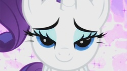 Size: 853x480 | Tagged: safe, screencap, rarity, pony, unicorn, secret of my excess, beautiful, bedroom eyes, bust, female, lidded eyes, love face, mare, out of context, portrait, seductive, smiling, solo