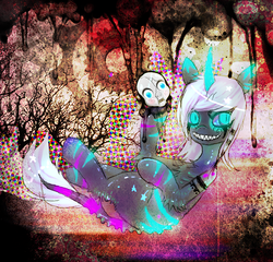 Size: 646x621 | Tagged: safe, artist:chalnsaw, oc, oc only, pony, unicorn, zebra, eerie, glow, glowing eyes, mask, psychedelic, sinister, solo, surreal