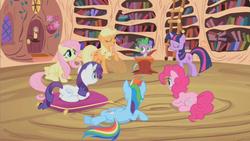 Size: 853x480 | Tagged: safe, screencap, applejack, fluttershy, pinkie pie, rainbow dash, rarity, spike, twilight sparkle, dragon, earth pony, pegasus, pony, unicorn, lesson zero, female, golden oaks library, male, mane seven, mane six, mare