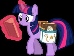 Size: 7147x5500   Tagged: safe, artist:drfatalchunk, twilight sparkle, pony, unicorn, absurd resolution, book, female, magic, mare, reading, saddle bag, simple background, smiling, solo, transparent background, walking