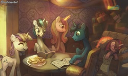 Size: 900x537 | Tagged: safe, artist:electrixocket, night light, princess cadance, shining armor, twilight sparkle, twilight velvet, alicorn, pony, unicorn, book, couch, family, female, food, husband and wife, interior, magic, male, mare, nightvelvet, present, reading, sandwich, shiningcadance, shipping, sitting, sleeping, sparkle family, stallion, straight