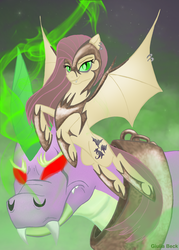 Size: 1000x1398   Tagged: safe, artist:giuliabeck, fluttershy, spike, bat pony, dragon, pony, armor, collar, corrupted, duo, ear piercing, earring, fangs, female, flying, glowing eyes, jewelry, male, mare, nightmare fluttershy, nightmarified, piercing, red eyes, slit eyes, wing piercing