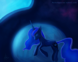 Size: 1280x1024 | Tagged: safe, artist:raikoh, princess luna, alicorn, pony, female, mare, side, sleeping, solo