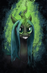 Size: 575x874 | Tagged: safe, artist:chromaskunk, artist:ecmajor, queen chrysalis, changeling, changeling queen, bust, fangs, female, frown, glowing horn, grin, kitchen eyes, magic aura, smiling, solo