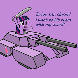 Size: 750x750 | Tagged: artifact, artist:smockhobbes, command and conquer, crossover, drive me closer, female, mammoth tank, mare, pony, safe, solo, sword, tank (vehicle), twilight sparkle, unicorn, warhammer 40k, warhammer (game), weapon