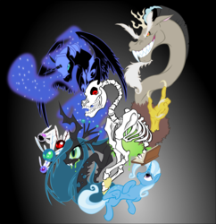 Size: 4126x4265 | Tagged: safe, artist:mohawkrex, discord, nightmare moon, queen chrysalis, trixie, alicorn, changeling, changeling queen, draconequus, parasprite, pony, unicorn, absurd resolution, antagonist, bone, female, gradient background, male, mare, skeleton