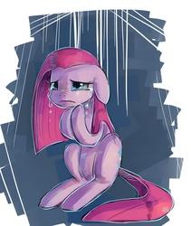 Size: 864x1024 | Tagged: safe, artist:terrac0tta, pinkie pie, earth pony, pony, abstract background, crying, female, floppy ears, mare, pinkamena diane pie, sad, sitting, solo