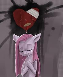 Size: 785x956 | Tagged: safe, artist:terrac0tta, pinkie pie, earth pony, pony, abstract background, crying, eyes closed, female, heart, heartbreak, mare, pinkamena diane pie, sad, solo