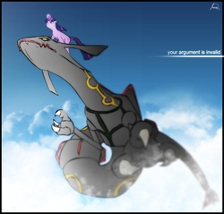 Size: 987x942 | Tagged: dead source, safe, artist:ryuukiba, twilight sparkle, pony, rayquaza, unicorn, cloud, crossover, duo, female, flying, glowing horn, mare, pokémon, ponies riding dragons, ponies riding pokémon, riding, shiny pokémon, sky, unicorn twilight