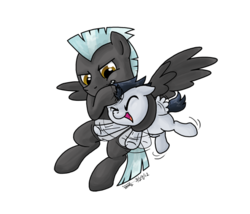 Size: 507x435 | Tagged: safe, artist:zicygomar, rumble, thunderlane, pegasus, pony, brothers, colt, duo, duo male, flailing, male, noogie, simple background, stallion, transparent background