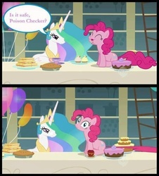 Size: 652x720 | Tagged: safe, edit, edited screencap, screencap, pinkie pie, princess celestia, alicorn, earth pony, pony, a bird in the hoof, balloon, cake, comic, duo, duo female, eating, female, mare, pie, poison, screencap comic