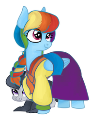 Size: 600x800 | Tagged: dead source, safe, artist:daeternal, rainbow dash, rumble, pegasus, pony, alternate hairstyle, braid, clothes, colt, duo, female, hanbok, korean, male, mare, simple background, smiling, white background