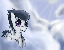 Size: 1500x1178 | Tagged: safe, artist:ruthienick, rumble, pegasus, pony, cloud, colt, male, prone, sky, smiling, solo