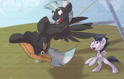 Size: 1750x1113 | Tagged: safe, artist:sb, rumble, thunderlane, pegasus, pony, brothers, colt, cute, duo, duo male, happy, hooves, male, playing, rumblebetes, stallion, swing, thunderbetes, underhoof