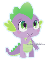 Size: 306x382   Tagged: safe, artist:miss-glitter, spike, dragon, baby, baby dragon, blushing, chibi, cute, eyebrows, fangs, green eyes, looking up, male, obtrusive watermark, outline, signature, simple background, smiling, solo, spikabetes, transparent background