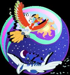 Size: 900x963 | Tagged: safe, artist:seaandsunshine, princess celestia, princess luna, alicorn, bird, ho-oh, lugia, pony, contrast, crossover, female, flying, legendary pokémon, mare, moon, pokémon, ponies riding pokémon, princess, riding, royal sisters, spread wings, sun, vector, wings, yin-yang