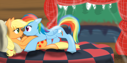 Size: 1280x640 | Tagged: safe, artist:calicopikachu, applejack, rainbow dash, appledash, bed, female, lesbian, mare, shipping