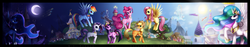 Size: 4500x850 | Tagged: safe, artist:felynea, applejack, fluttershy, pinkie pie, princess celestia, princess luna, rainbow dash, rarity, twilight sparkle, carousel boutique, day night cycle, day night shift, mane six, moon, ponyville, sun