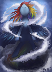 Size: 643x900 | Tagged: safe, artist:felynea, rainbow dash, epic, flying, solo